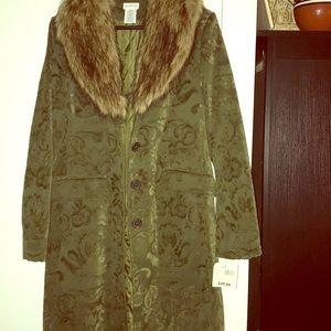 Jackets & Blazers - Brocade Coat with detachable Faux Fur Collar